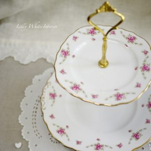 Royal Osborne ロイヤルオズボーン ミニ薔薇のガーランド アフタヌーンティーケーキスタンド