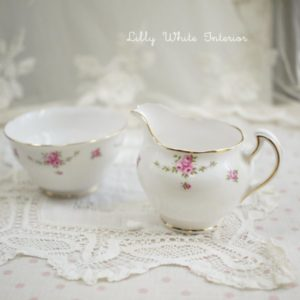 Royal Osborne ロイヤルオズボーン ミニ薔薇のガーランド クリーマー&シュガーボウルのセット