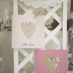グリーティングカード With Love ハートにお花のコラージュ