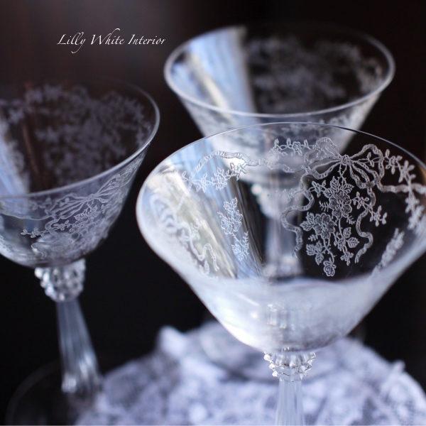 Fostoria フォストリア ロマンス エレガントグラス リボンとお花のシャンパーニュ/シャーベットグラス