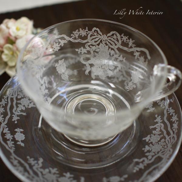 Fostoria フォストリア ロマンス エレガントグラス リボンとお花のカップ&ソーサー