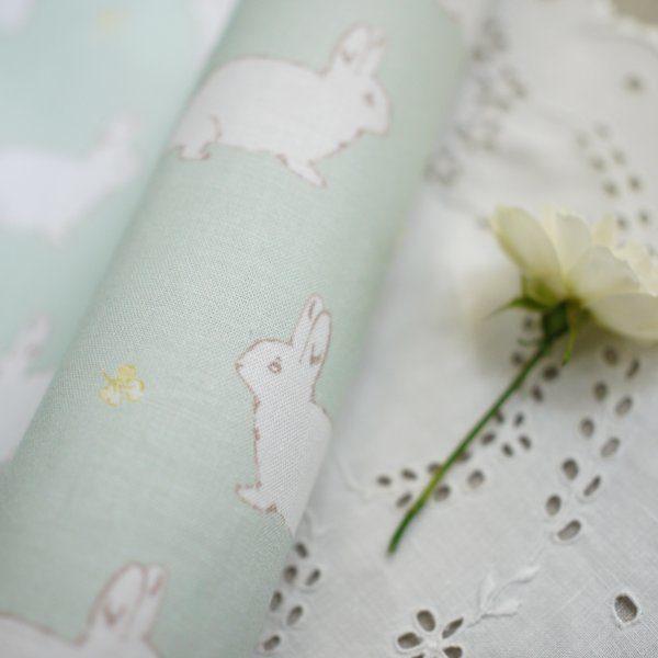 Lilly White Designs -Rabbit & Clover- garden green ラビット&クローバー(ガーデングリーン)生地