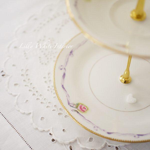 Court China (Queen Mary) コートチャイナ ミニ薔薇とリボンの小さなケーキスタンド