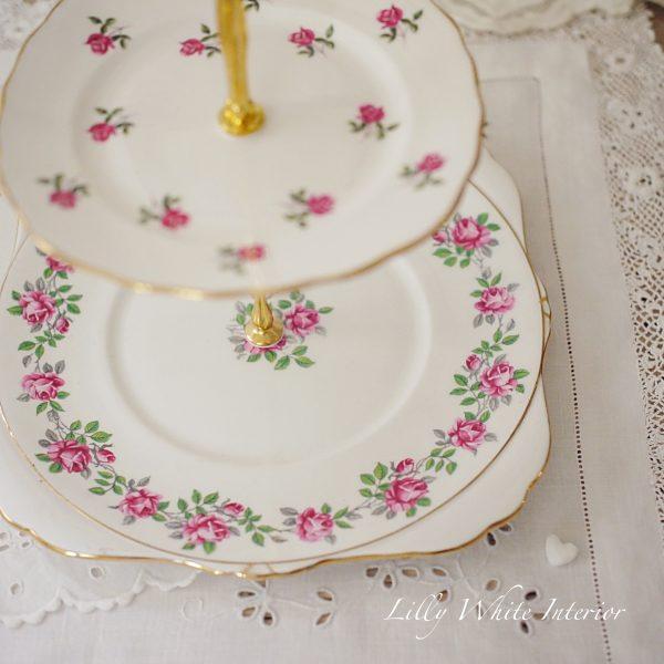 ロイヤルグラフトン イギリスヴィンテージ 薔薇のケーキスタンド