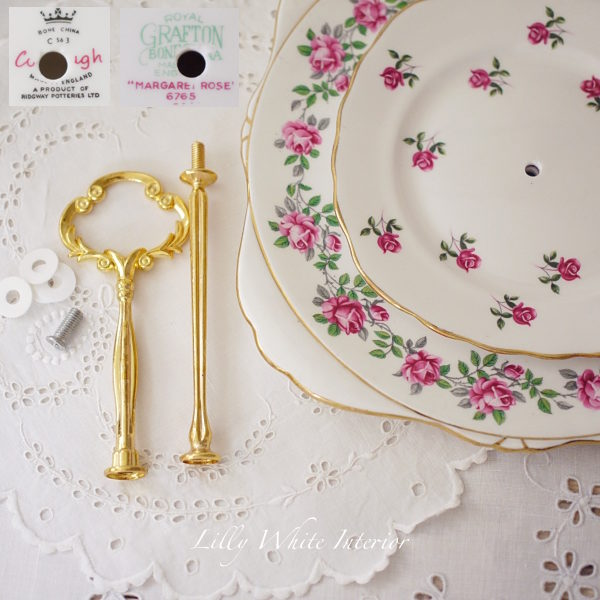 ロイヤルグラフトン&コルクラフ イギリスヴィンテージ 薔薇のケーキスタンド