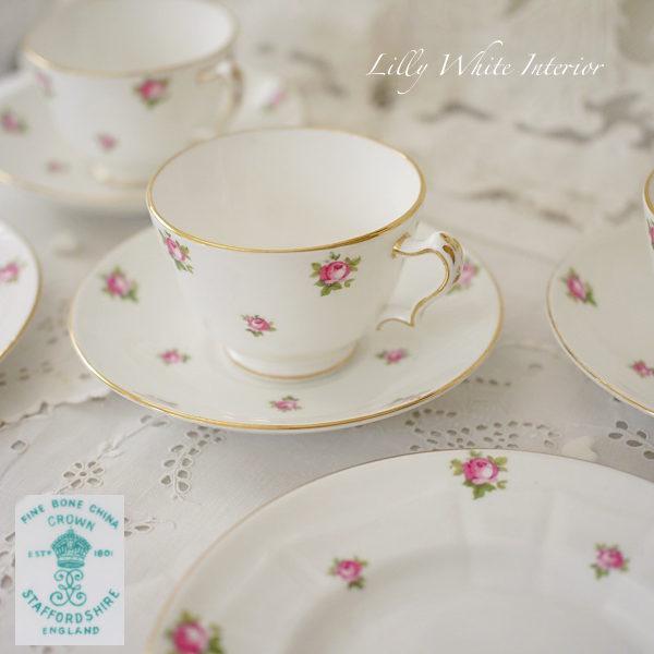 Crown Staffordshire クラウンスタッフォードシャー ミニ薔薇のヴィンテージトリオ