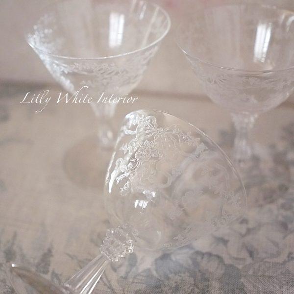 Fostoria フォストリア ロマンス エレガントグラス リボンとお花のロウシャーベットグラス